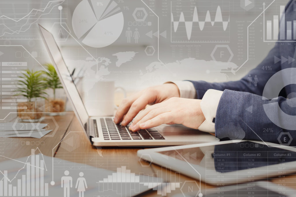 Digital marketing. Interactive screen with business processes over businessman typing on laptop